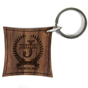 Inital and Surname of Honour With Personalisation Walnut Keyring